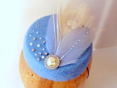 Little Blue Pearly Cocktail Hat Pillbox With Pearls by ChefBizzaro, $70.00