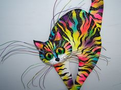 Whimsical cat art cat sculpture. $39.00, via Etsy.