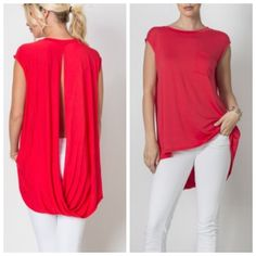 July 4th Sale Twist back tunic -RED Twisted sleeves tunic with slit open in the back. Very light and stylish hi-low top.                    95% Viscose 5% Spandex.                                        Bundle two or more items and Save.                                                      Available in Blue and Red. Sizes S,M, L Tops Tunics