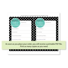 Printable Sweet Baby Wishes Cards - Tiffany's Baby Shower game ideas