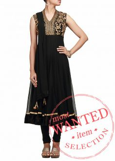 A black anarkali dress in net with pita embroidery on neck by B91 Exclusive