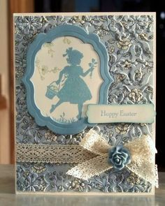 Handmade Card, Stampin Up Easter Blossoms--Beautiful card by Linda Throgmorton (WhimsyArtCards).She does great work and sells on Etsy.