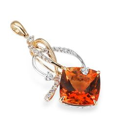 A cushion-cut citrine shines beneathcurls of diamonds and gleaming 18K gold. Diamond Info: 24-RD 0.31, 01-CIT(H) 7.60 CTS Fits center stone size CU: 12x12 MMGUIDE Price may vary depending on center stone.