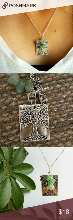 """NEW Asta Silver Drangonfly & Tree of Life Necklace Tree of Life Asta Necklace. Natural Aventurine symbolizes Good Luck & Prosperity.   The Tree of Life symbolizes Wisdom & prosperity.   The Dragonfly symbolizes Good luck, Strength, Peace & Harmony.   The three are said to bring to the wearer Good luck, Peace and Prosperity.   18"""" 925 Sterling Silver plated chain.  Handmade  Comes wrapped in a gorgeous gift box!  Bundle 3 or more for a 20% discount on your entire order PLUS receive a FREE…"""