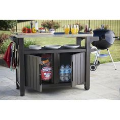 Keter Unity extra-large entertainment storage cart/prep station with metal table top will help you entertain this summer in style.  Perfect for both indoors and out, this storage cabinet offers efficient mobility as it glides from the kitchen to the deck with ease. Its brilliantly designed structure provides numerous options for use, such as a mobile kitchen island, an attractive deck box alternative or an extra surface for serving drinks and meal preparation on the patio. Keter truly de...