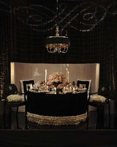 Resource One, Inc linens on table and chairs, exclusively at POSH Couture Rentals