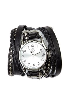 Black and Silver Studded Leather Wrap Watch by Sara Designs