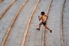 Sportswoman running on stairs by Guille Faingold - Sportswoman, Barcelona - Stocksy United Urban Fitness, Athlete, Barcelona, Stairs, The Unit, Stock Photos, Running, Park, Stairway