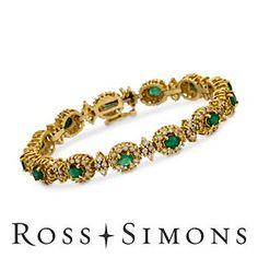 C. 2000. Vintage 2.20ct t.w. Emerald, 3.50ct t.w. Diamond Bracelet