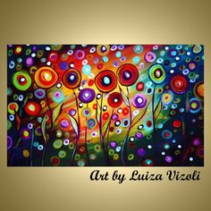 Happy Poppies Whimsical Fantasy Flowers Art by vizoliartprints