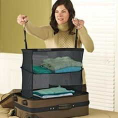 clever - Arrange your clothes on hanging Shelves and drop them into your suitcase. When you arrive at your hotel, just hang them in the closet. No need to unpack.  Neat ideahttp://www.universityblogspot.com/graduate-career-planning/