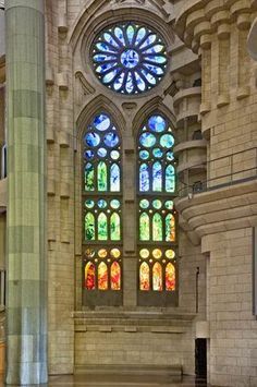 Stained glass,Sagrada Familia, Barcelona. Antonio Gaudi, architect.  One of my favorite cities.