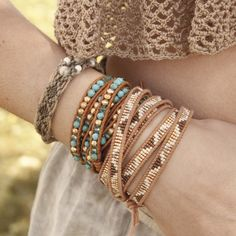 Chan Luu - Gold Mix Beaded Wrap Bracelet on Beige Leather, $210.00 (http://www.chanluu.com/wrap-bracelets/gold-mix-beaded-wrap-bracelet-on-beige-leather/)