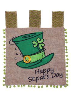 2ae40adb09f Toland St. Pat Top Hat Burlap 12 x 18 St Patrick s Day Shamrock Garden Flag