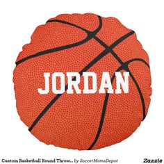 Custom #Basketball Round Throw #Pillow...Add your text (team name, player name) to personalize it!