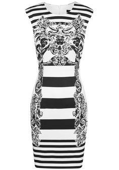 Black White Striped Sleeveless Floral Dress