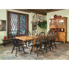 Rustic Traditions Dining Room Set w/ Black Chairs