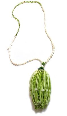 Melinda Young, Drop Pom Neckpiece, 2011|Artificial Plant Foliage, Coral, Mother of Pearl, Freshwater Pearls, Peridot, Costume Jewellery Finding, Wood, 925 Silver
