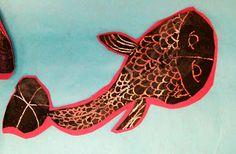 Experiments in Art Education: Koi Fish Scratch Art