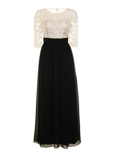 Chi Chi Chloe Dress - Vintage Style Black and white lace top Prom dress with sleeves $52.99 AT vintagedancer.com