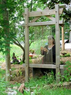The Garden Loom, the Earth Loom ~ build and share one. The Garden Loom, the Earth Loom ~ build and share one. Diy Garden, Garden Crafts, Dream Garden, Garden Projects, Loom Weaving, Tapestry Weaving, Hand Weaving, Weaving Projects, Weaving Tools