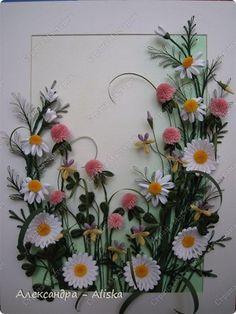 Картина панно рисунок День рождения Квиллинг Луговые цветы Бумага фото 1