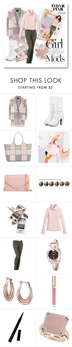 """Think Pink with MERRYGOROUND-FASHION GROUP"" by afezoftheheart ❤ liked on Polyvore featuring Dorothy Perkins, Oryany, Tory Burch, White House Black Market, 7 For All Mankind, Gucci, Nine West, Stila, Topshop and thinkpink"