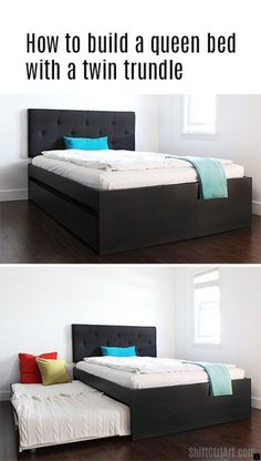Guest bed: build a queen bed with twin trundle - IKEA hack Queen Trundle Bed, Queen Beds, Queen Mattress, Murphy Bed Ikea, Murphy Bed Plans, Space Saving Beds, Small Guest Rooms, Modern Murphy Beds, Colors