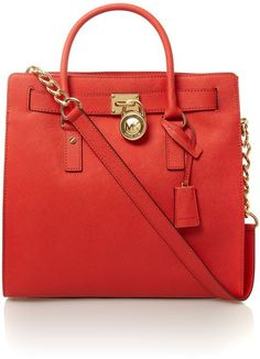 Michael By Michael Kors Red Hamilton Red Large Tote Bag