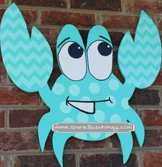 Chevron Crab Door Hanger/Sign by SparkledWhimsy on Etsy Burlap Projects, Burlap Crafts, Wood Crafts, Diy Crafts, Wooden Door Signs, Wooden Doors, Crab Art, Burlap Signs, Burlap Door Hangers