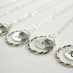 Bridesmaid Gift set of 4 Pearl Bridesmaid by TJWeddingJewelry