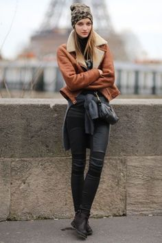 Fabulously Fall Street Style Fashion Looks to Gather Inspiration from ... -- Cold Weather Chic | top off layers with a leather coat and a cool, animal print beanie.