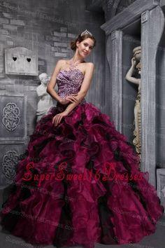 Best Fuchsia and Black Sweet 16 Dress Zebra Print and Ruffles and Beading Ball Gown