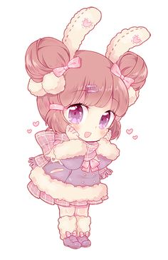 chibi commission for aumbrieones! thank you for commissioning me! i'll try to dish out another chibi tomorrow before work if i can ^ 0 ^ done in sai / ps please do not use / repost my art unless . Cute Anime Chibi, Kawaii Chibi, Kawaii Anime Girl, Kawaii Art, Anime Art Girl, Chibi Bunny, Chibi Characters, Cute Characters, Kawaii Drawings
