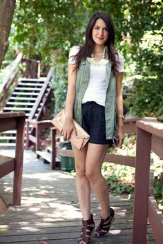 If you don't like short skirts - go with tailored shorts - Full shot of perfect outfit