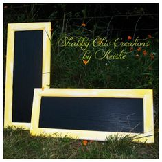 SHABBY CHIC CHALKBOARDS MADE FROM UP CYCLED CABINET DOORS  These Vintage Cabinet Doors were reclaimed and have been re purposed into these lovely Chalk Boards. The Cabinet doors are the original color Canary Yellow but are dry brushed with yellow and white to create a shabby chic effect...the centers of the doors are painted with a black Acrylic Chalkboard paint.  The look is great and would be lovely in your home, class room for just about any place - Kitchen, laundry, and childs room.