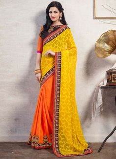 http://www.sareebuzz.in/exceptional-yellow-and-orange-georgette-designer-saree-4398  Exceptional Yellow And Orange Georgette Designer Saree  Color : Orange Yellow  Occasion : Ceremonial Party  Fabric : Pure Georgette  Work :Embroidered Patch Border  Item Code :4398  For Inquiry Or Any Query Related To Product, Contact :- +91 9974 111 222