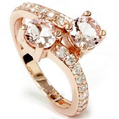 Womens ring features two 5.5mm genuine morganite gemstones and 16 round cut diamonds. All stones are set in solid 14k rose gold. Product Details Item #