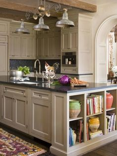 kitchen island with shelves.