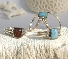 Dominican Larimar and Amber Rectangle Sterling Silver Ring Square Multistone 2 way reversible genuine Dolphin bohemian stone Must Have - pinned by pin4etsy.com