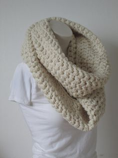 Chunky Infinity Scarf, Oversized Thick and Warm  -Aran...Free Matching beanie hat with pom poms by VansBasicWear on Etsy