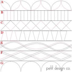 Did you know that you can do a lot more with a walking foot than straight line quilting? Petit Design Co has done a 31 day series on quilting with a walking foot. Quilting Stencils, Quilting Templates, Longarm Quilting, Free Motion Quilting, Quilting Tutorials, Quilting Ideas, Hexagon Quilting, Border Templates, Modern Quilting