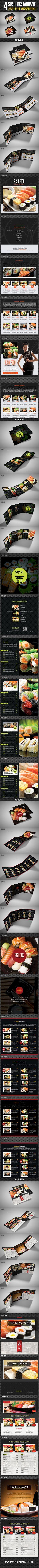 4 Sushi Restaurant Menu 3-Fold Brochure Bundle Template #design Download: http://graphicriver.net/item/4-sushi-restaurant-menu-3fold-brochure-bundle/12047887?ref=ksioks