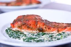 Slow roasting salmon yields melt-in-your mouth tender salmon. Paired with a kaffir lime and coconut creamed spinach it makes for a healthy decadent meal.