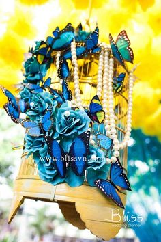 The wedding with the highlights of flying butterflies in the garden of love, having been long symbolized rebirth and transformation, is the best way to start a new journey of this married couple. Turquoise, yellow and white are cleverly combined like the bless Bliss wants to send to both of them, for the new happy, sincere, stable and prosperous life.  Designed and Organized by Bliss Wedding Planner  See more at http://blissvn.com/en/Gallery/Album/Full-Garden-of-Love