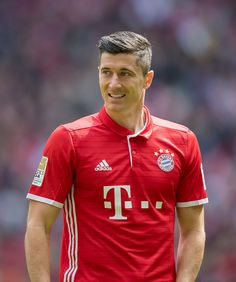 Robert Lewandowski of Muenchen looks on during the Bundesliga match between FC Bayern Muenchen and Hannover 96 at Allianz Arena on May 14 2016 in...