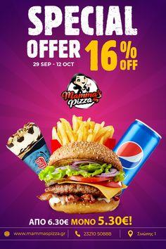 Απόλαυσε το burger μερίδα 🍔 της επιλογής σου ➕ Pepsi 330 ml ➕ παγωτό Rodeo με 16% έκπτωση‼️ Από 6,30€ τώρα 5,30€!!! Η προσφορά ισχύει από 29/9 έως 12/10! ☎️ 23210 50888 #serres #burger #pepsi #offer #mammaspizza Pepsi, Merida, Rodeo, Bull Riding, Rodeo Life