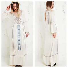 FREE PEOPLE Eyelet Maxi A Line Lace Dress NWT SOLD OUT EVERYWHERE! Gorgeous flowing and classic feminine taste! Retail $268. Size 8. ☺️ Semi pleated bodice. Free People Dresses Maxi