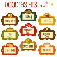 Thanksgiving Food Labels Digital Clip Art for Scrapbooking Card Making Cupcake Toppers Paper Crafts Thanksgiving Favors, Thanksgiving Recipes, Kids Thanksgiving, How To Make Cupcakes, Food Labels, Dinner Rolls, Cupcake Toppers, Card Making, Paper Crafts