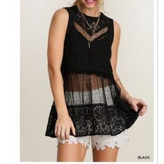 """ARRIVAL! Black sleeveless lace top Material: 60% cotton, 40% polyester  Perfect top for a date night, evening or any occasion.  Will require a bandeau or a bralette underneath. Please note the bralette and body chain are not included.  Measurements laying the top flat are:  ARMPIT TO ARMPIT:  Small:19"""" Medium:20"""" Large:21""""  LENGTH  Small:27.5"""" Medium:29"""" Large:29"""" Pink Peplum Boutique Tops"""